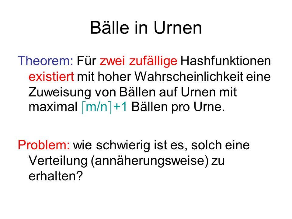 Bälle in Urnen Algorithmus 1: Minimumregel [KLM92] Platziere die Bälle hintereinander in die Urnen.
