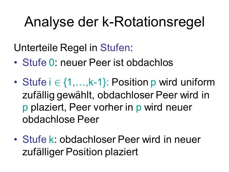 Analyse der k-Rotationsregel Konzentration auf einzelne Position p: Zustandsraum: {(0,0),(0,1),(1,0),(1,1)} Stufe 0: (0,0) .