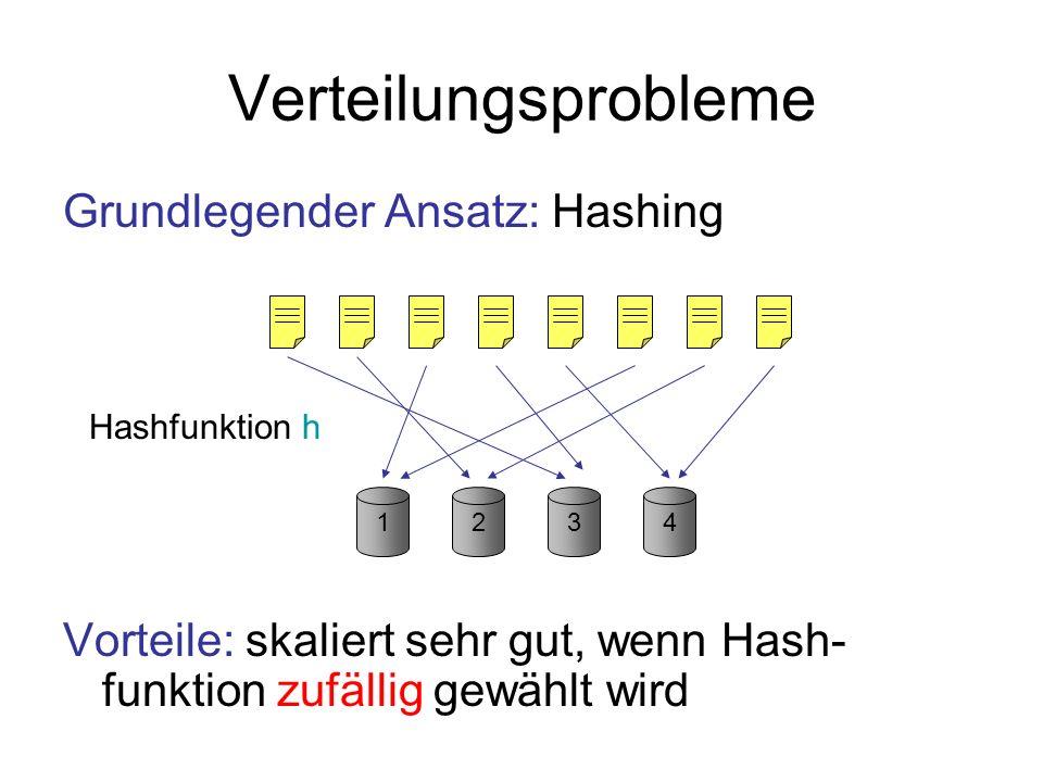 Verteilungsprobleme Grundlegender Ansatz: Hashing Nachteil: Standardhashing nicht adaptiv, nicht robust gegenüber gegn.