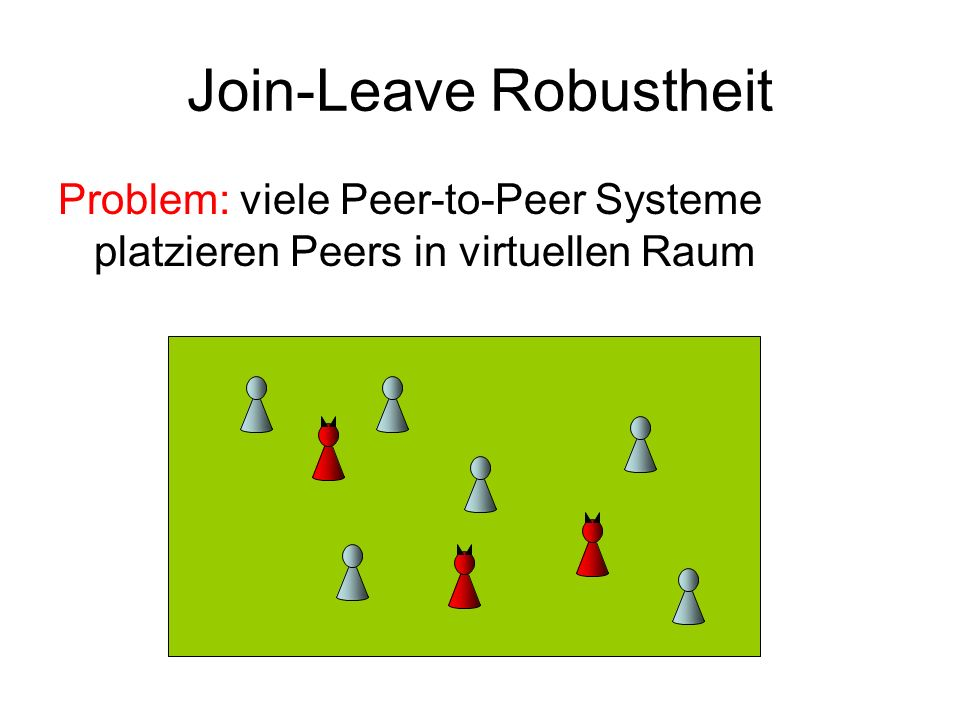 Join-Leave Robustheit Problem: viele Peer-to-Peer Systeme platzieren Peers in virtuellen Raum