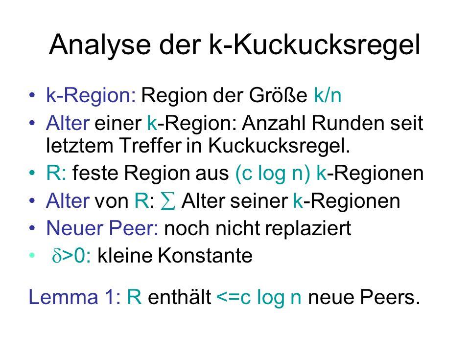 Analyse der k-Kuckucksregel Lemma 2: R hat Gesamtalter von (1 § ) (c log n)n/k, m.h.W.