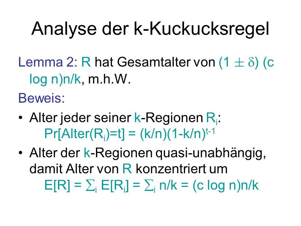 Analyse der k-Kuckucksregel R: feste Region aus c log n vielen k-Regionen T=( / )log 2 n >0: kleine Konstante Lemma 3: In jedem Zeitintervall der Größe T werden m.h.W.
