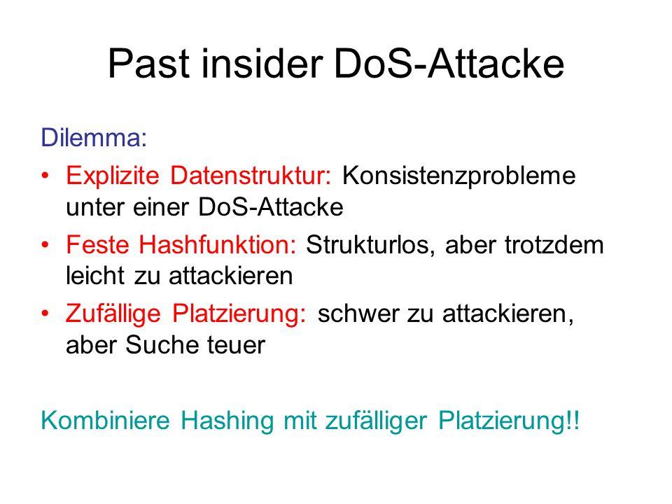 Past-insider-resistentes System hashbasierte Position (davon O(log n) viele) zufällig gestreute Kopien [AS07]