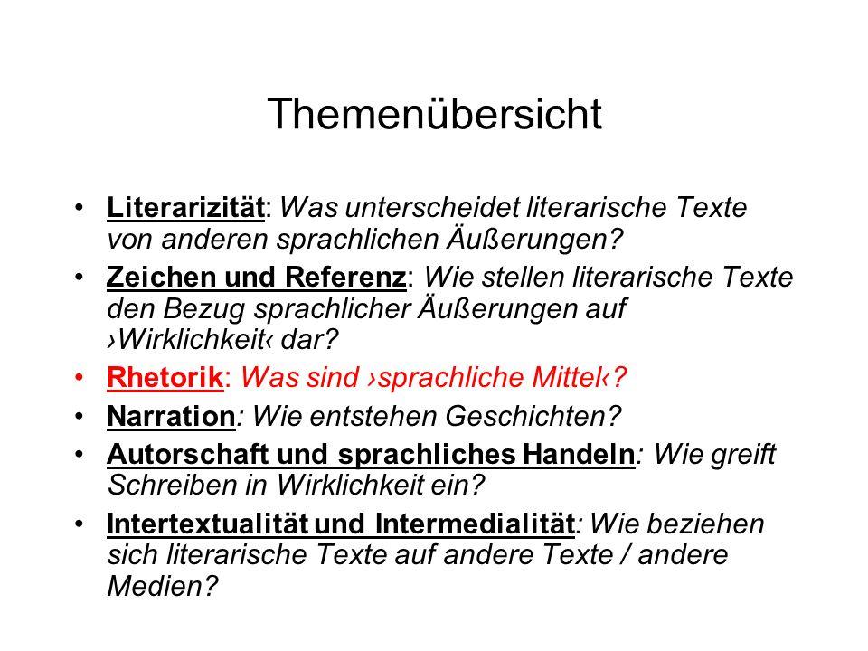 Themenübersicht Literarizität: Was unterscheidet literarische Texte von anderen sprachlichen Äußerungen? Zeichen und Referenz: Wie stellen literarisch