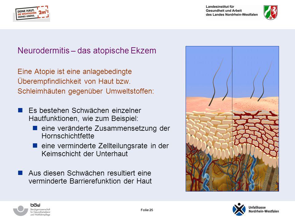 Folie 24 Neurodermitis – das atopische Ekzem Eine Atopie ist eine anlagebedingte Überempfindlichkeit von Haut bzw. Schleimhäuten gegenüber Umweltstoff