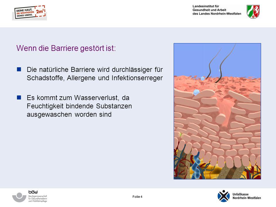 Folie 4 Wenn die Barriere gestört ist: Die natürliche Barriere wird durchlässiger für Schadstoffe, Allergene und Infektionserreger Es kommt zum Wasserverlust, da Feuchtigkeit bindende Substanzen ausgewaschen worden sind