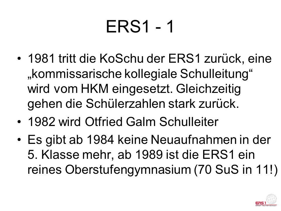 ERS 1 - 2 1996: Bernd Mader leitet nach dem plötzlichen Tod von Otfried Galm etwa 2 Jahre die Schule 1999: Hannelore Christ ist die nächste Schulleiterin Seit 2007 leitet Monika Schmidt-Dietrich die ERS1 Schülerzahlentwicklung: von ca.