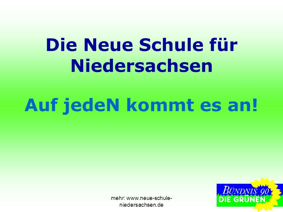 mehr: www.neue-schule- niedersachsen.de Die Neue Schule für Niedersachsen Auf jedeN kommt es an!