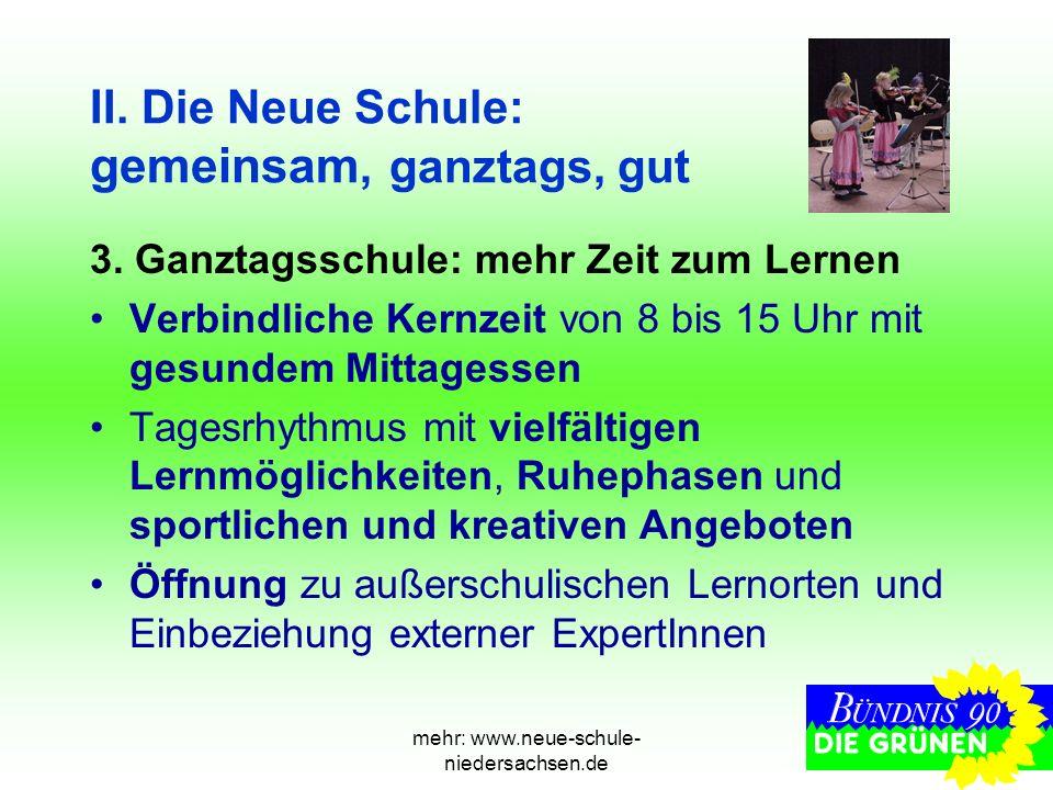 mehr: www.neue-schule- niedersachsen.de II. Die Neue Schule: gemeinsam, ganztags, gut 3. Ganztagsschule: mehr Zeit zum Lernen Verbindliche Kernzeit vo