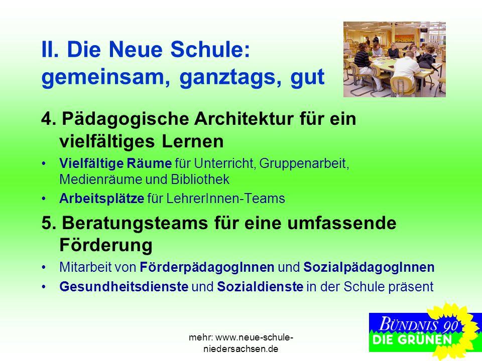 mehr: www.neue-schule- niedersachsen.de II. Die Neue Schule: gemeinsam, ganztags, gut 4. Pädagogische Architektur für ein vielfältiges Lernen Vielfält