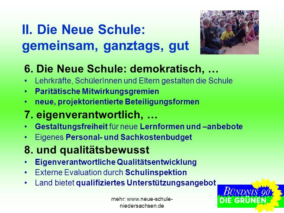 mehr: www.neue-schule- niedersachsen.de II. Die Neue Schule: gemeinsam, ganztags, gut 6. Die Neue Schule: demokratisch, … Lehrkräfte, SchülerInnen und