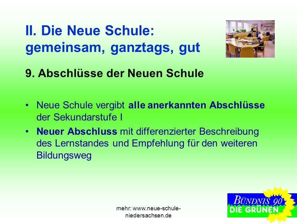 mehr: www.neue-schule- niedersachsen.de II. Die Neue Schule: gemeinsam, ganztags, gut 9. Abschlüsse der Neuen Schule Neue Schule vergibt alle anerkann
