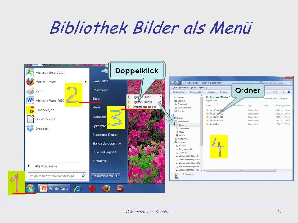 Bibliothek Bilder als Menü G.Meininghaus, Konstanz14 Ordner Doppelklick
