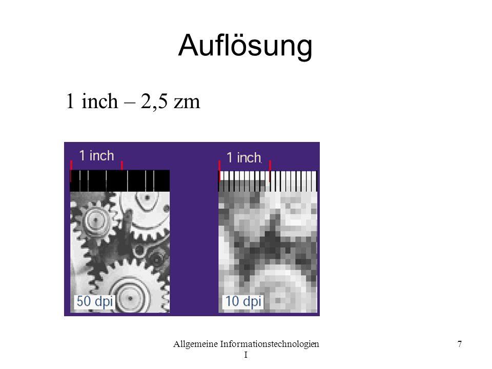 Allgemeine Informationstechnologien I 7 Auflösung 1 inch – 2,5 zm