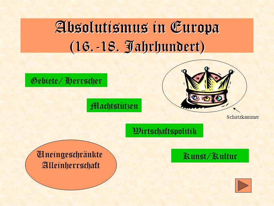 Absolutismus in Europa (16.-18. Jahrhundert) Gebiete/ Herrscher Machtstützen Wirtschaftspolitik Kunst/Kultur Uneingeschränkte Alleinherrschaft Schatzk