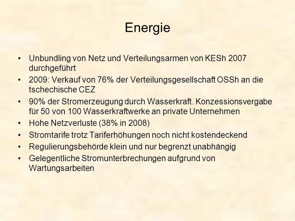 Energie Unbundling von Netz und Verteilungsarmen von KESh 2007 durchgeführt 2009: Verkauf von 76% der Verteilungsgesellschaft OSSh an die tschechische