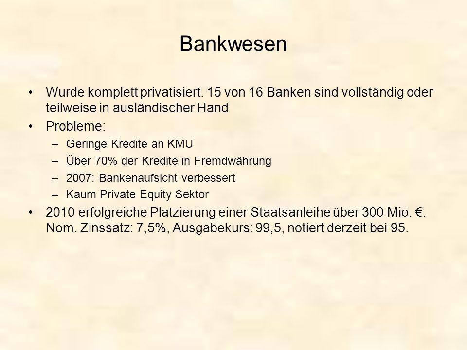 Bankwesen Wurde komplett privatisiert. 15 von 16 Banken sind vollständig oder teilweise in ausländischer Hand Probleme: –Geringe Kredite an KMU –Über