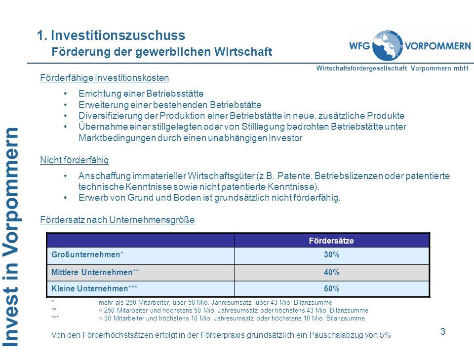 Invest in Vorpommern 3 Fördersätze Großunternehmen*30% Mittlere Unternehmen**40% Kleine Unternehmen***50% *mehr als 250 Mitarbeiter, über 50 Mio. Jahr