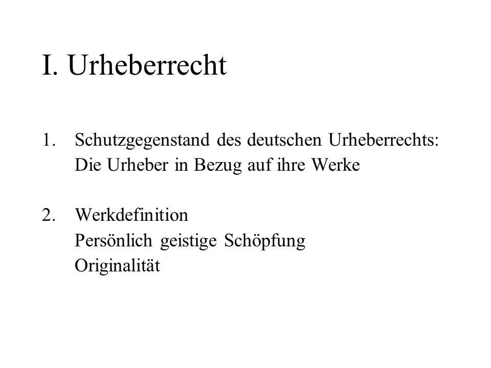 I. Urheberrecht 1.Schutzgegenstand des deutschen Urheberrechts: Die Urheber in Bezug auf ihre Werke 2.Werkdefinition Persönlich geistige Schöpfung Ori