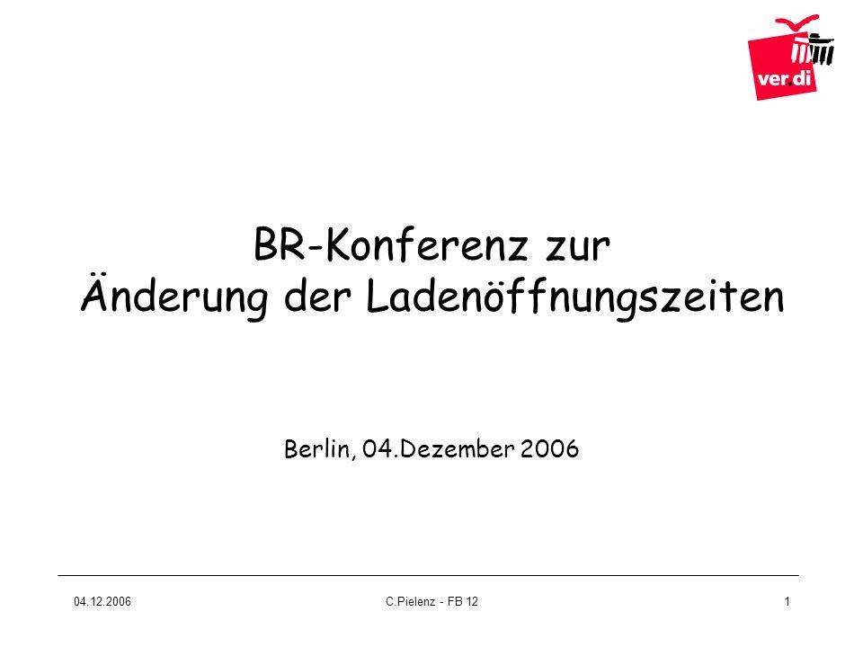 04.12.2006C.Pielenz - FB 122 I.Rechtliche Grundlagen II.Strategisches Vorgehen III.Inhalt der Betriebsvereinbarung
