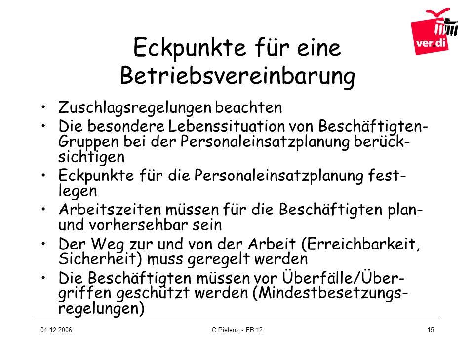 04.12.2006C.Pielenz - FB 1215 Eckpunkte für eine Betriebsvereinbarung Zuschlagsregelungen beachten Die besondere Lebenssituation von Beschäftigten- Gr