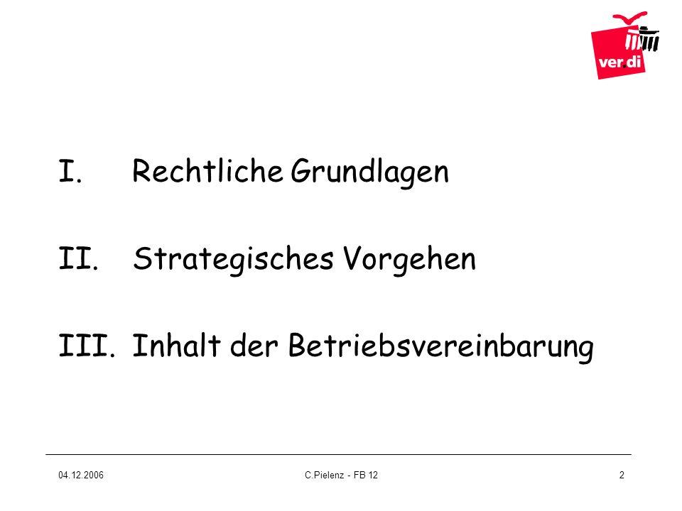 04.12.2006C.Pielenz - FB 1213 Gute Vorbereitung Unterlagen im Rahmen der Personalplanung anfordern (gem.§ 92 BetrVG) Untersuchung der Arbeitsplätze und Erstellen einer Gefährdungsanalyse (gem.
