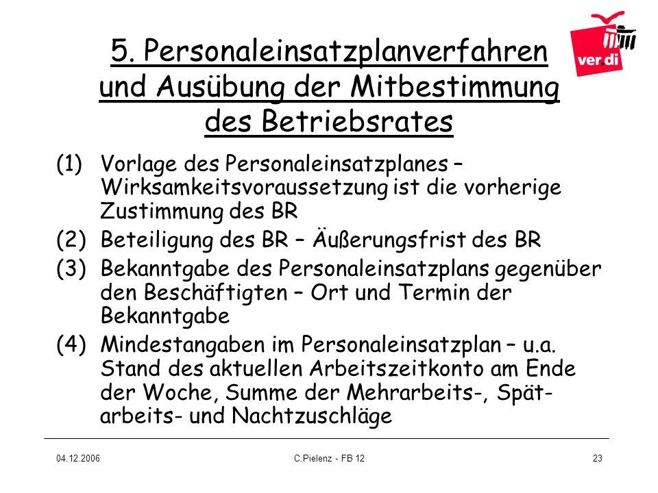 04.12.2006C.Pielenz - FB 1223 5. Personaleinsatzplanverfahren und Ausübung der Mitbestimmung des Betriebsrates (1)Vorlage des Personaleinsatzplanes –
