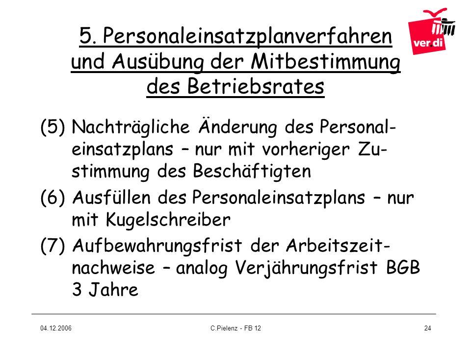 04.12.2006C.Pielenz - FB 1224 (5)Nachträgliche Änderung des Personal- einsatzplans – nur mit vorheriger Zu- stimmung des Beschäftigten (6)Ausfüllen de