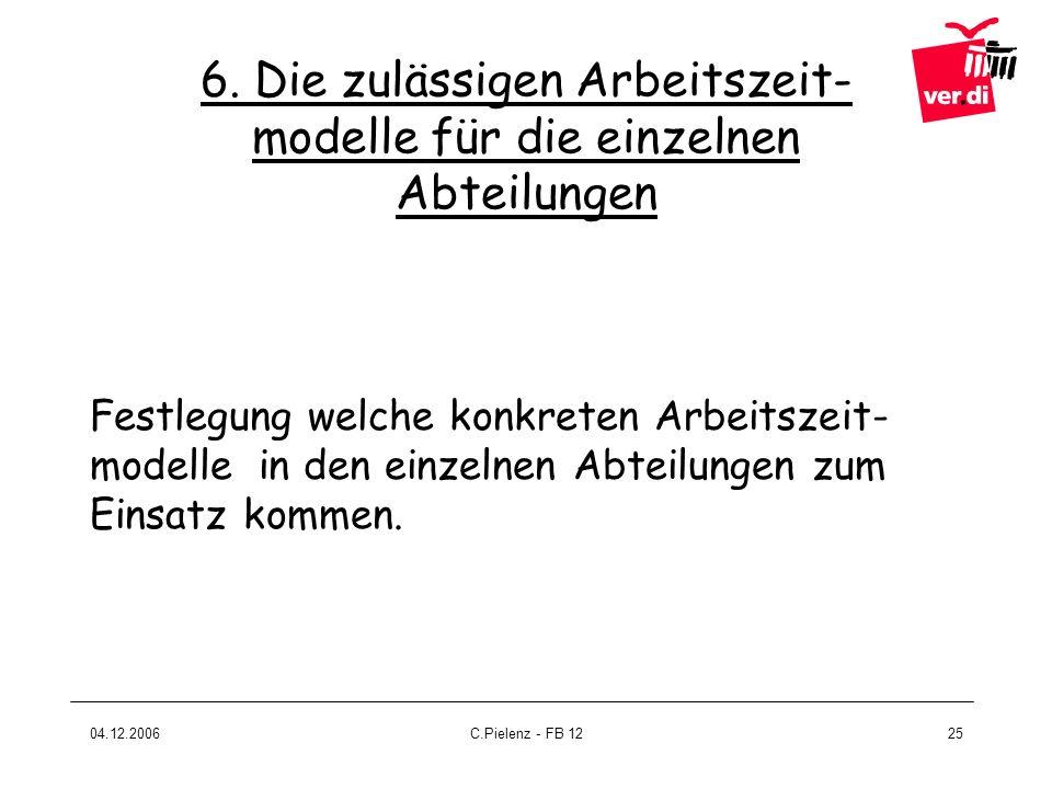 04.12.2006C.Pielenz - FB 1225 6. Die zulässigen Arbeitszeit- modelle für die einzelnen Abteilungen Festlegung welche konkreten Arbeitszeit- modelle in