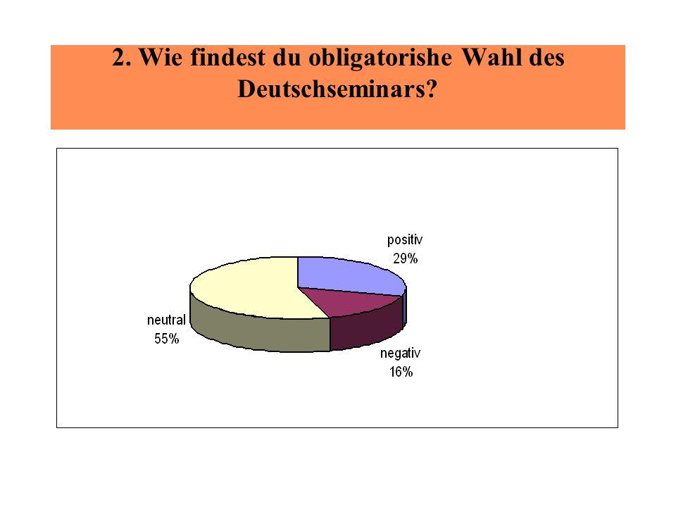 2. Wie findest du obligatorishe Wahl des Deutschseminars?
