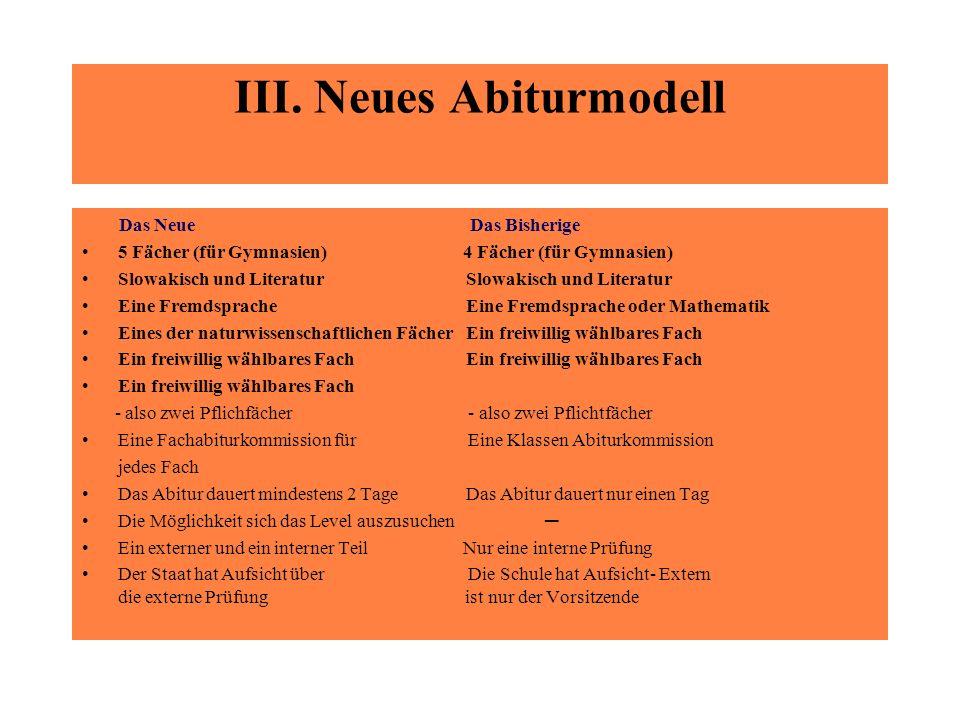 III. Neues Abiturmodell Das Neue Das Bisherige 5 Fächer (für Gymnasien) 4 Fächer (für Gymnasien) Slowakisch und LiteraturSlowakisch und Literatur Eine