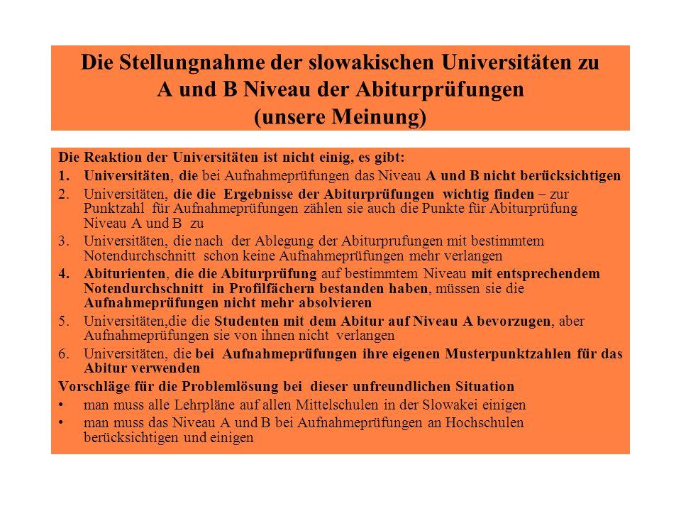 Die Stellungnahme der slowakischen Universitäten zu A und B Niveau der Abiturprüfungen (unsere Meinung) Die Reaktion der Universitäten ist nicht einig