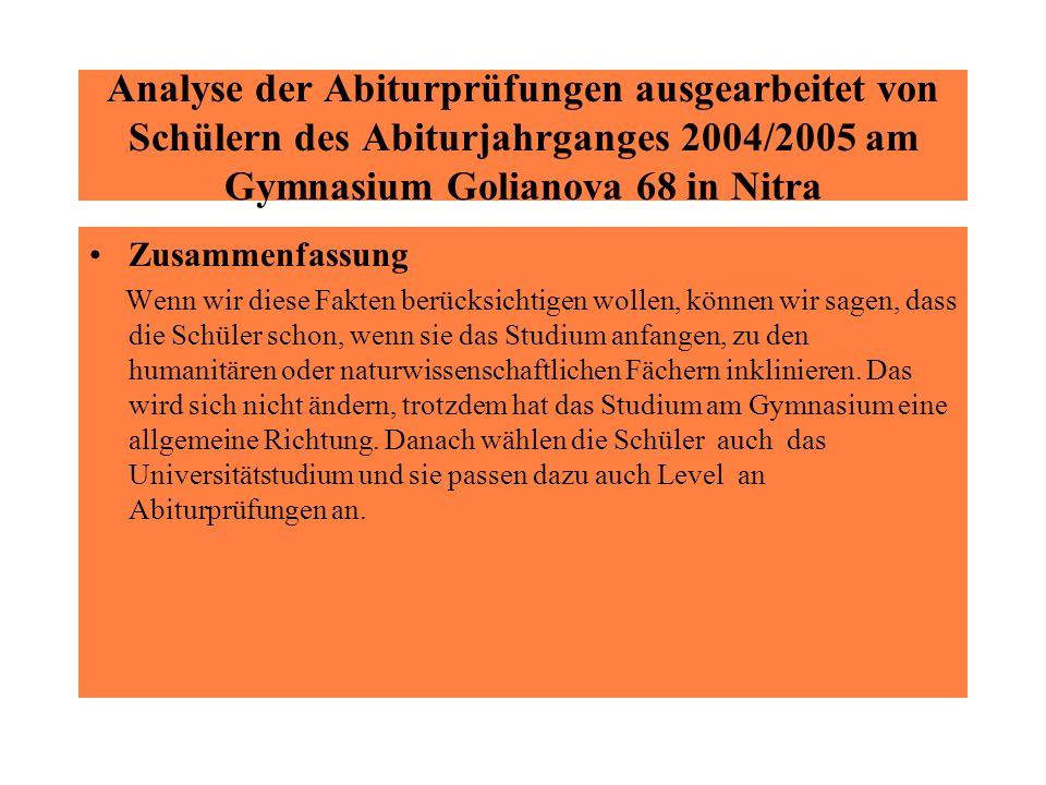Analyse der Abiturprüfungen ausgearbeitet von Schülern des Abiturjahrganges 2004/2005 am Gymnasium Golianova 68 in Nitra Zusammenfassung Wenn wir dies