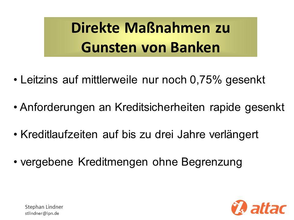 Direkte Maßnahmen zu Gunsten von Banken Stephan Lindner stlindner@ipn.de Leitzins auf mittlerweile nur noch 0,75% gesenkt Anforderungen an Kreditsiche