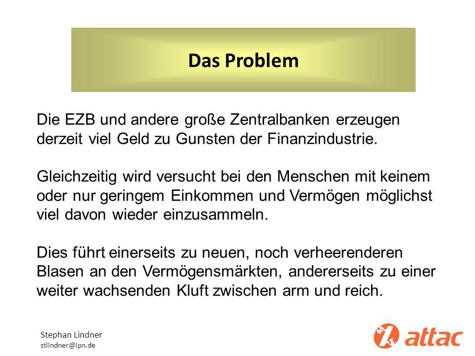 Das Problem Stephan Lindner stlindner@ipn.de Die EZB und andere große Zentralbanken erzeugen derzeit viel Geld zu Gunsten der Finanzindustrie. Gleichz