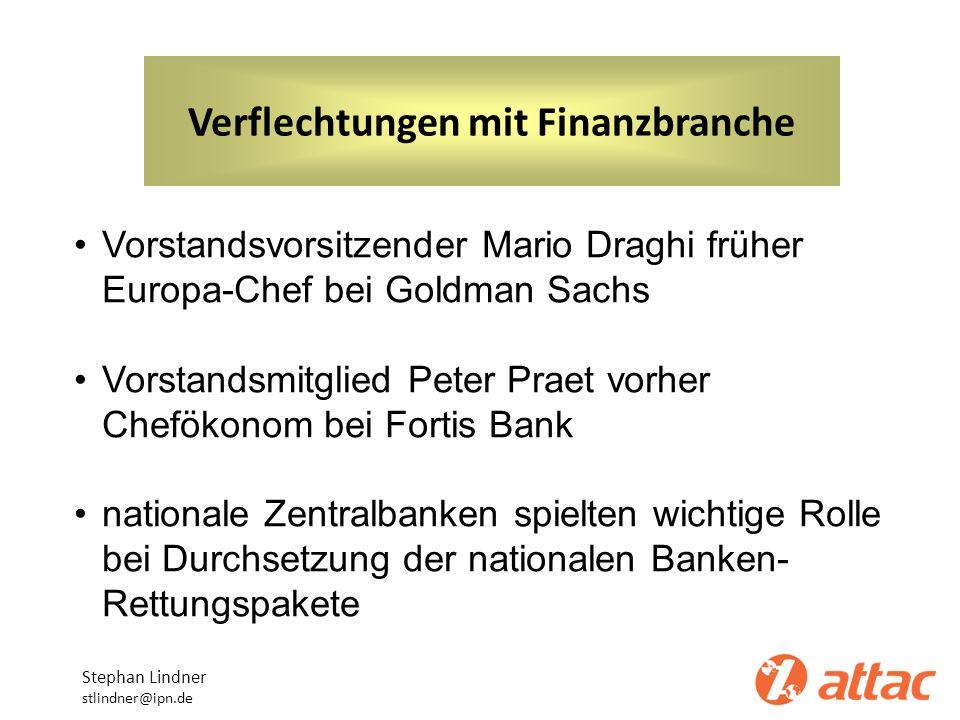 Verflechtungen mit Finanzbranche Stephan Lindner stlindner@ipn.de Vorstandsvorsitzender Mario Draghi früher Europa-Chef bei Goldman Sachs Vorstandsmit