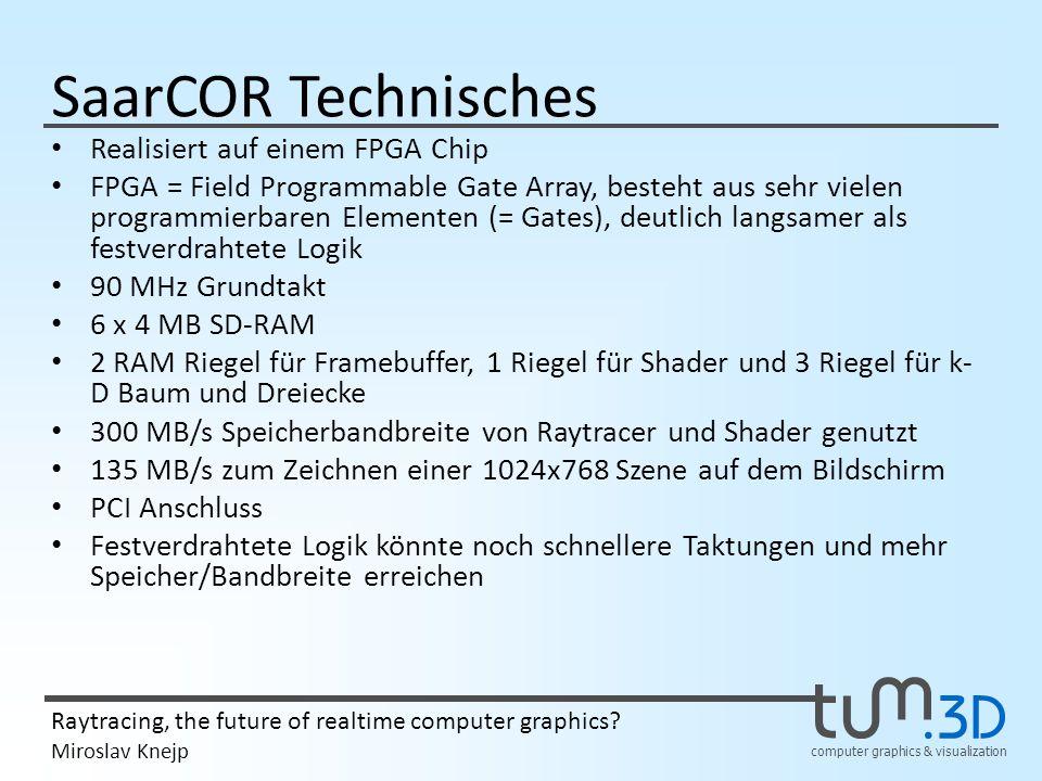 computer graphics & visualization Raytracing, the future of realtime computer graphics? Miroslav Knejp SaarCOR Technisches Realisiert auf einem FPGA C