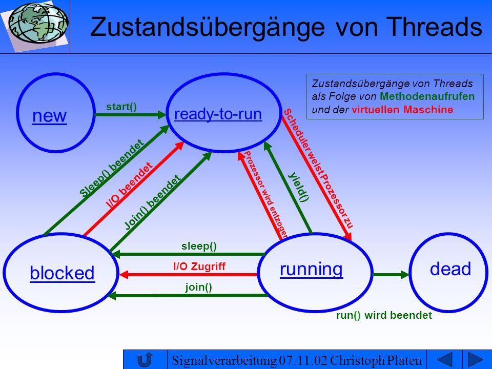 Signalverarbeitung 07.11.02 Christoph Platen Zustandsübergänge von Threads als Folge von Methodenaufrufen und der virtuellen Maschine I/O Zugriff I/O