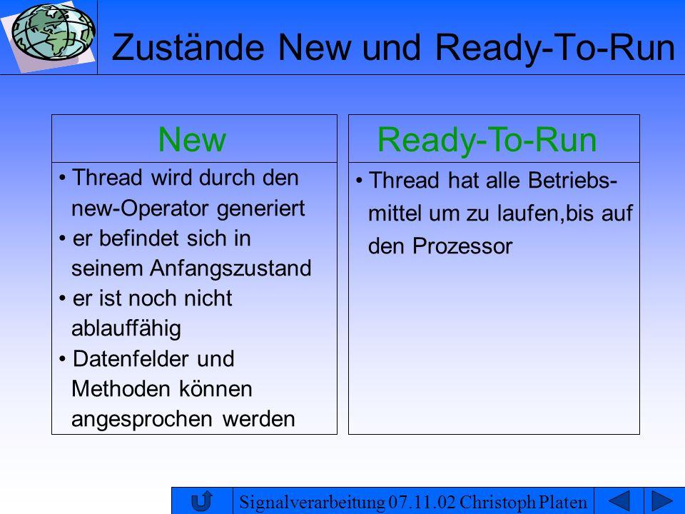 Signalverarbeitung 07.11.02 Christoph Platen Zustände New und Ready-To-Run New Thread wird durch den new-Operator generiert er befindet sich in seinem