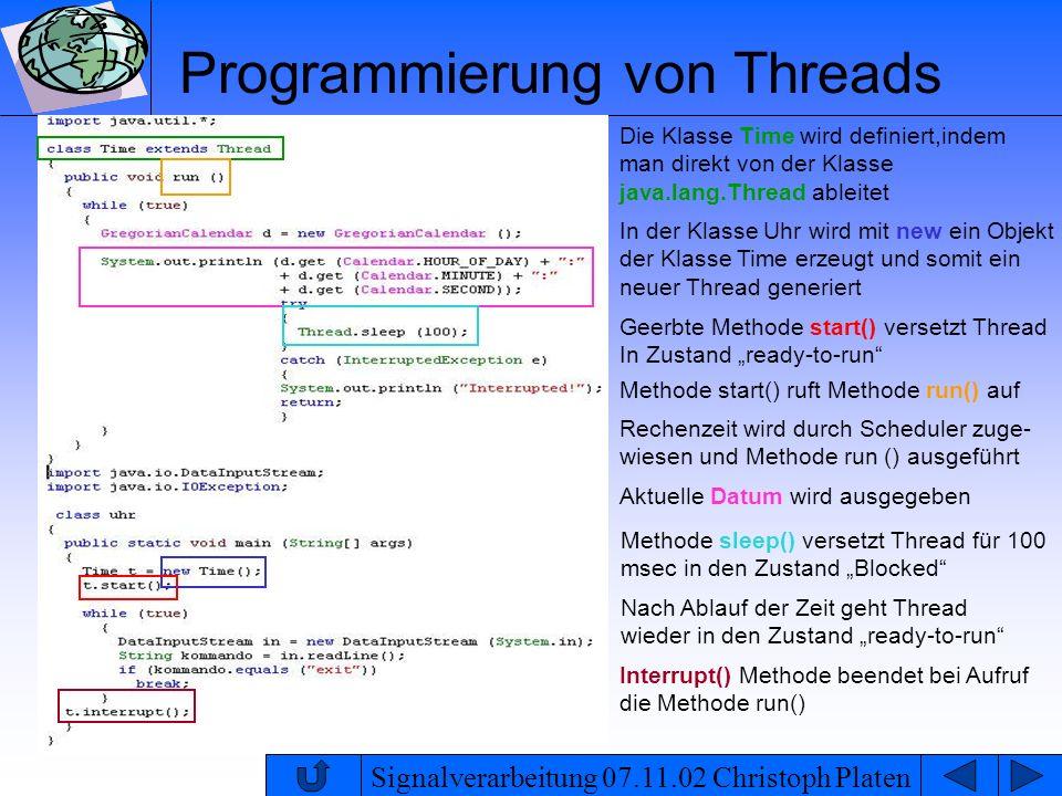 Signalverarbeitung 07.11.02 Christoph Platen Programmierung von Threads Rechenzeit wird durch Scheduler zuge- wiesen und Methode run () ausgeführt Nac
