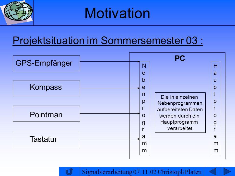 Signalverarbeitung 07.11.02 Christoph Platen Motivation Signalübertragung vom GPS-Empfänger zum PC nur dann, wenn Daten vorliegen alle anderen Anwendungen sollen parallel ablaufen ( Download, Tastatur, Drucker etc.