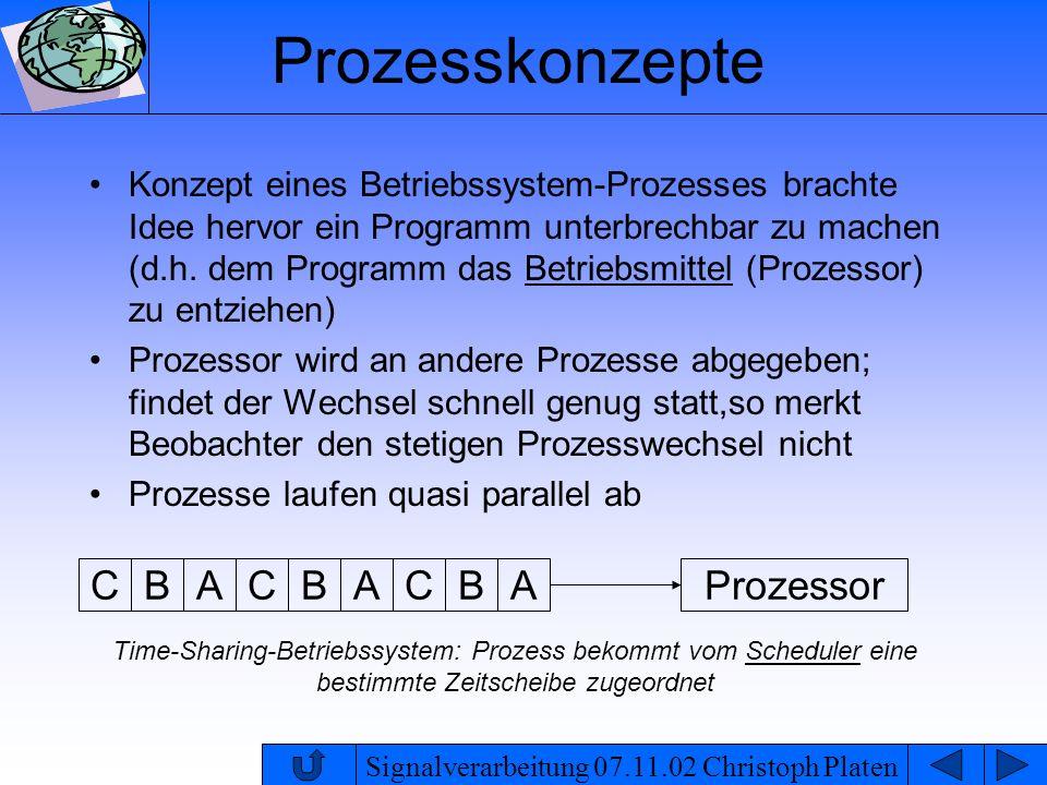 Signalverarbeitung 07.11.02 Christoph Platen Prozesskonzepte ein klassischer Betriebssystem-Prozess stellt eine Einheit für das Memory Management und das Scheduling dar es wird Platz im Arbeitsspeicher zugeordnet und Rechenzeit durch den Scheduler gewährt da der Kontextwechsel eines Betriebssystem- Prozesses mit der Verwaltung des Arbeitsspeichers gekoppelt ist spricht man von einem schwergewichtigem Prozess
