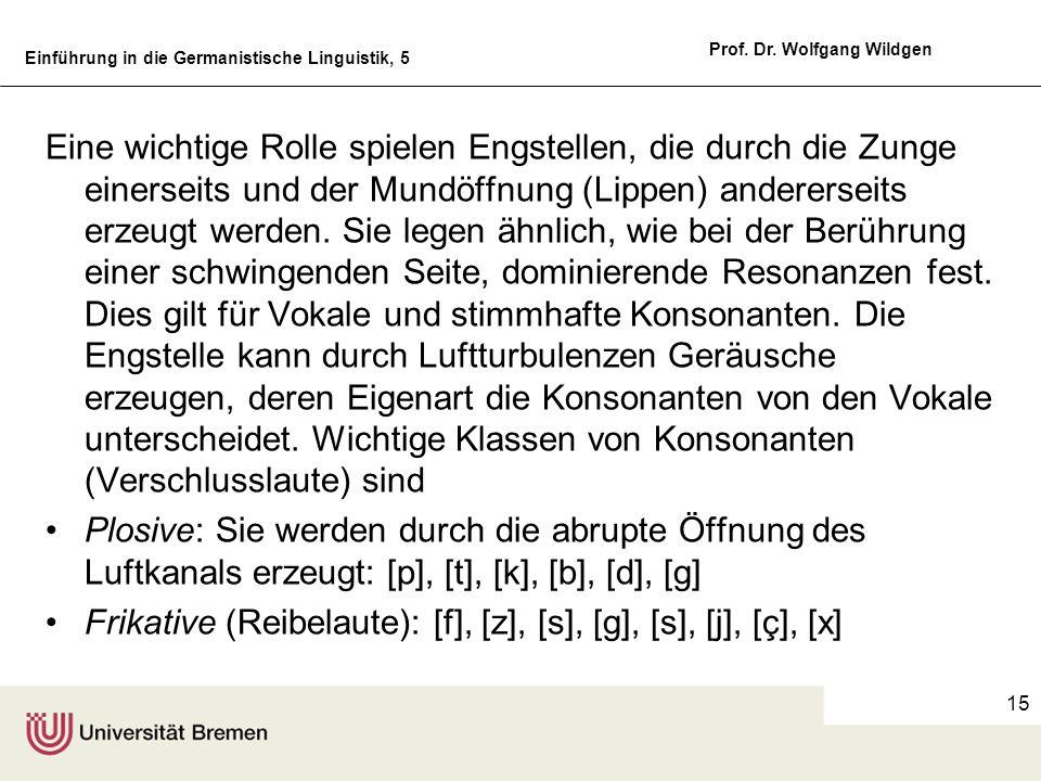 Einführung in die Germanistische Linguistik, 5 Prof. Dr. Wolfgang Wildgen 15 Eine wichtige Rolle spielen Engstellen, die durch die Zunge einerseits un