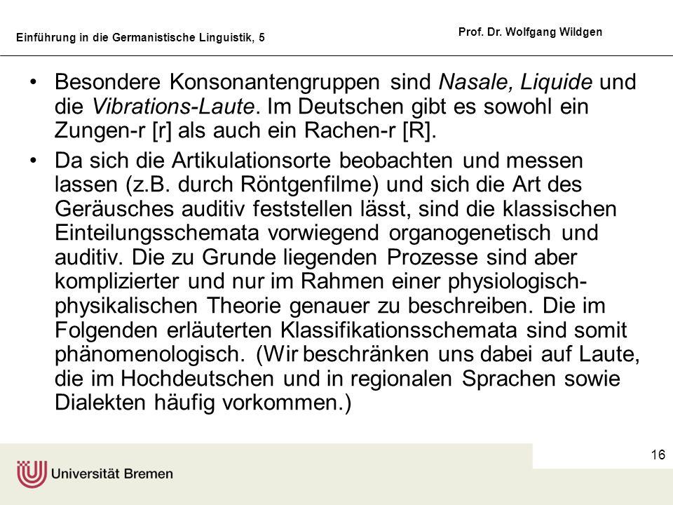 Einführung in die Germanistische Linguistik, 5 Prof. Dr. Wolfgang Wildgen 16 Besondere Konsonantengruppen sind Nasale, Liquide und die Vibrations-Laut