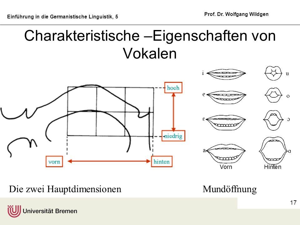 Einführung in die Germanistische Linguistik, 5 Prof. Dr. Wolfgang Wildgen 17 Charakteristische –Eigenschaften von Vokalen Die zwei HauptdimensionenMun