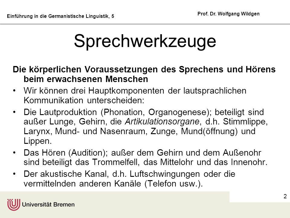 Einführung in die Germanistische Linguistik, 5 Prof. Dr. Wolfgang Wildgen 2 Sprechwerkzeuge Die körperlichen Voraussetzungen des Sprechens und Hörens