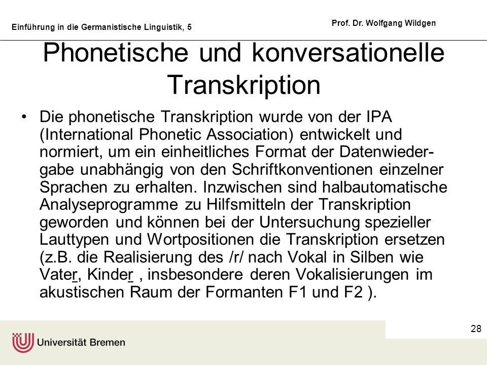 Einführung in die Germanistische Linguistik, 5 Prof. Dr. Wolfgang Wildgen 28 Phonetische und konversationelle Transkription Die phonetische Transkript
