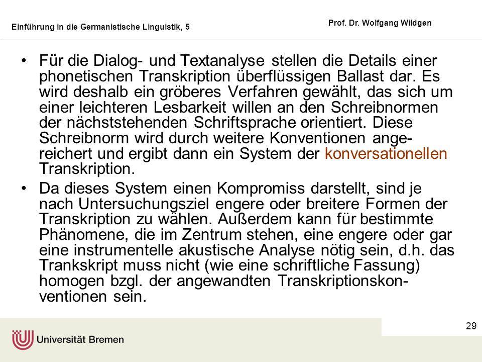 Einführung in die Germanistische Linguistik, 5 Prof. Dr. Wolfgang Wildgen 29 Für die Dialog- und Textanalyse stellen die Details einer phonetischen Tr
