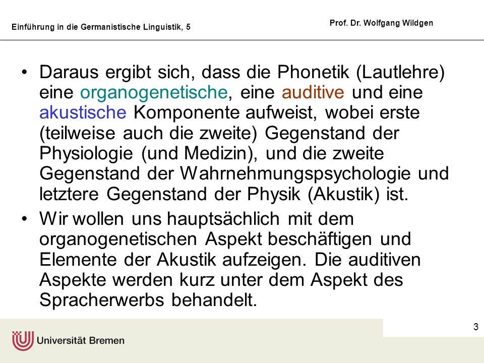 Einführung in die Germanistische Linguistik, 5 Prof. Dr. Wolfgang Wildgen 3 Daraus ergibt sich, dass die Phonetik (Lautlehre) eine organogenetische, e