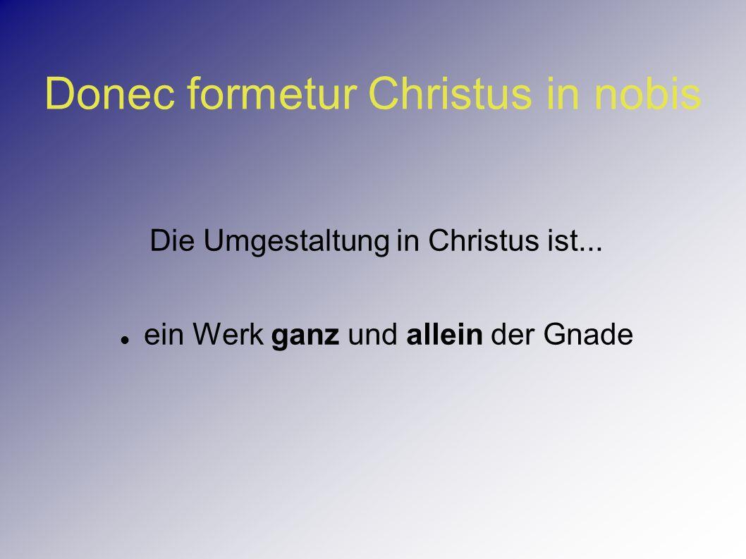 Donec formetur Christus in nobis Die Umgestaltung in Christus ist... ein Werk ganz und allein der Gnade